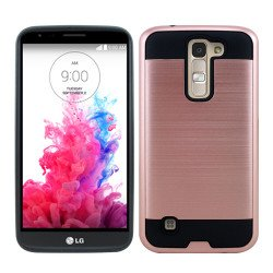 LG K10 Premier LTE Iron Shield Hybrid Case (Rose Gold)